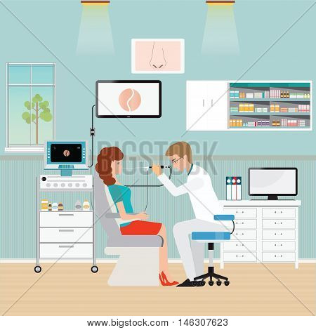 Medical otolaryngologist ear nose throat doctor rinsing nose at women office interior medical health care flat design vector illustration.