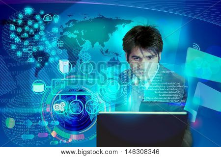 illustration of software engineer analyzing the code with enterprise system integration concept, this also used for business man reviewing annual results, architect presenting software designs