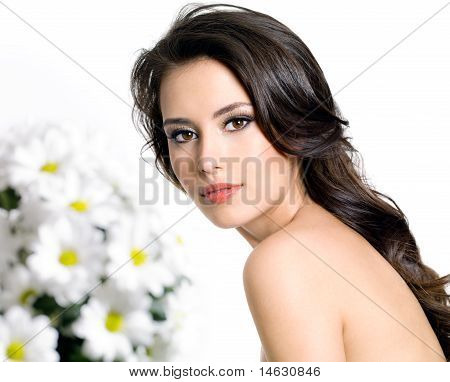 Woman And Spring Flowers