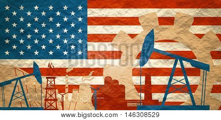Energy and Power icons set with United States flag. Sustainable energy generation and heavy industry. Textured by concrete