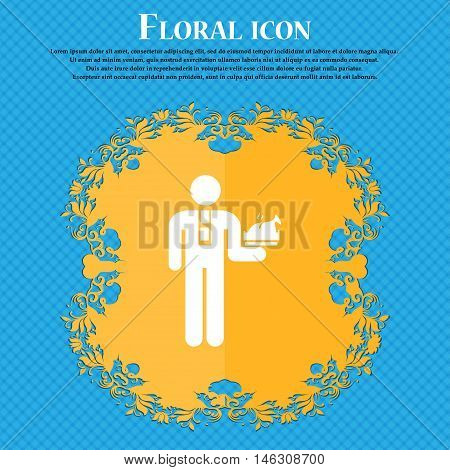 Waiter Icon Icon. Floral Flat Design On A Blue Abstract Background With Place For Your Text. Vector