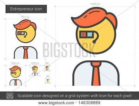 Entrepreneur vector line icon isolated on white background. Entrepreneur line icon for infographic, website or app. Scalable icon designed on a grid system.