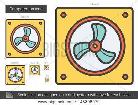 Computer fan vector line icon isolated on white background. Computer fan line icon for infographic, website or app. Scalable icon designed on a grid system.