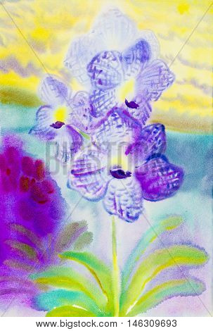 Abstract watercolor original painting purple pink color of orchidaceae flower and green leaves in blue yellow background