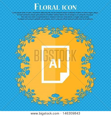 File Ai Icon Icon. Floral Flat Design On A Blue Abstract Background With Place For Your Text. Vector