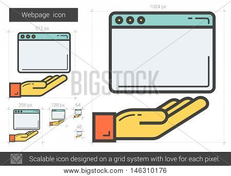 Webpage vector line icon isolated on white background. Webpage line icon for infographic, website or app. Scalable icon designed on a grid system.