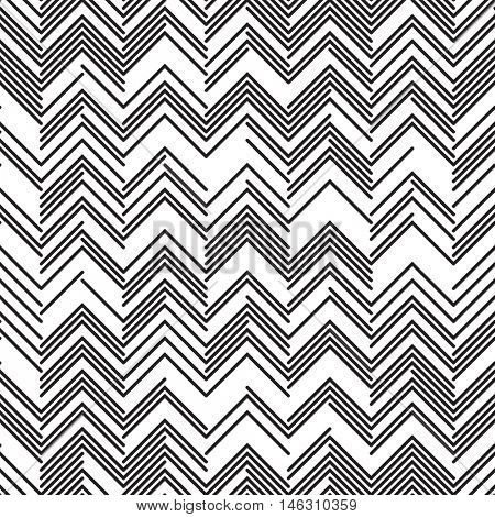 Seamless Zig Zag Pattern. Abstract  Monochrome Background. Vector Chaotic Line Texture