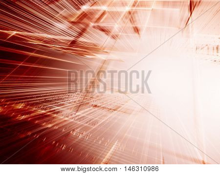 Abstract background element. Fractal graphics series. Three-dimensional composition of intersecting grids and motion blur. Information technology concept. Red and white colors.