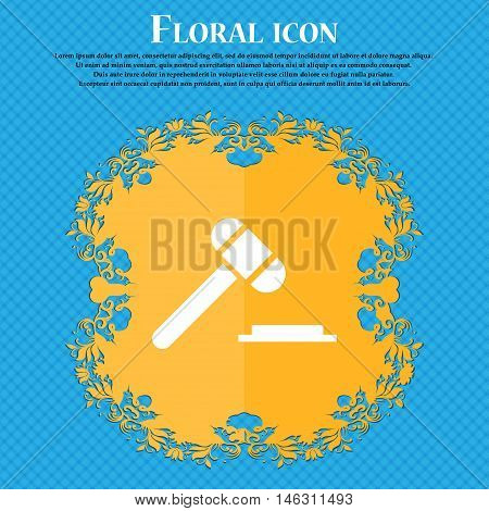 Judge Or Auction Hammer Icon Icon. Floral Flat Design On A Blue Abstract Background With Place For Y