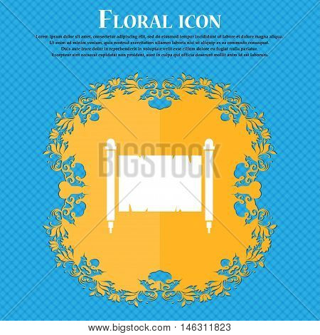 Ancient Parchment Sheet Of Paper Icon. Floral Flat Design On A Blue Abstract Background With Place F