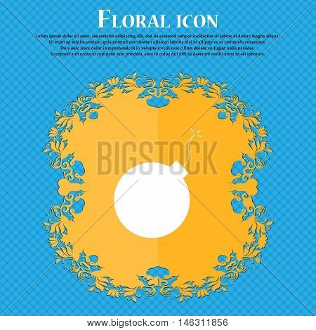 Bomb Icon Icon. Floral Flat Design On A Blue Abstract Background With Place For Your Text. Vector