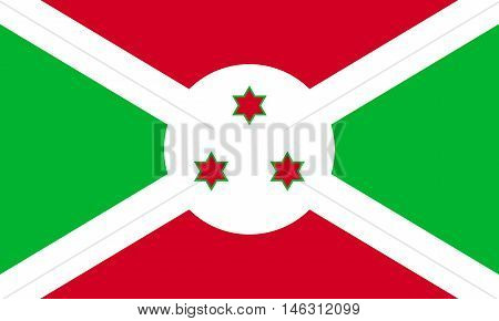 Flag of Burundi in correct size proportions and colors. Accurate official standard dimensions. Burundian national flag. African patriotic symbol banner element background. Vector illustration