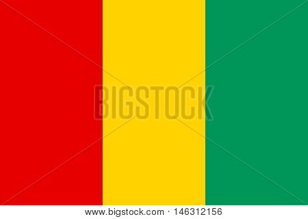 Flag of Guinea in correct size proportions and colors. Accurate official standard dimensions. Guinean national flag. African patriotic symbol banner element background. Vector illustration