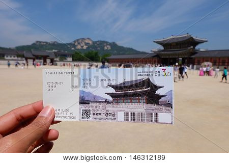 SEOUL, SOUTH KOREA -MAY 21: Tickets place of Gyeongbokgung Palace on May 21, 2016 in Seoul, South Korea.