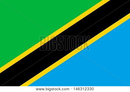 Flag of Tanzania in correct size proportions and colors. Accurate official standard dimensions. Tanzanian national flag. African patriotic symbol banner element background. Vector illustration