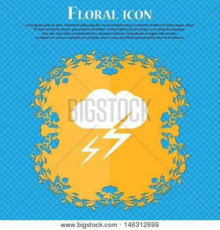 Weather Icon Icon. Floral Flat Design On A Blue Abstract Background With Place For Your Text. Vector