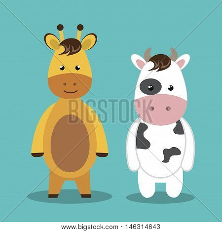 cartoon animal cow giraffe plush stuffed design vector illustration eps 10