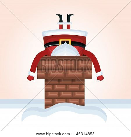 santa claus chimney stuck design vector illustration eps 10
