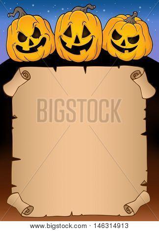 Parchment with Halloween pumpkins 3 - eps10 vector illustration.