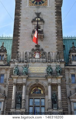 HAMBURG, GERMANY - AUG 25: Hamburg Rathaus (City hall or Town hall) in Germany, as seen on Aug 25, 2016. It is the seat of the government of Hamburg and as such, the seat of one of Germanys 16 state parliaments.