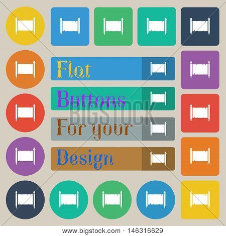 Ancient Parchment Sheet Of Paper Sign. Set Of Twenty Colored Flat, Round, Square And Rectangular But
