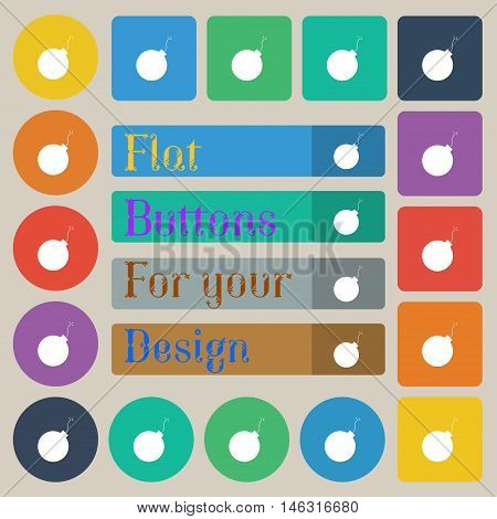 Bomb Icon Sign. Set Of Twenty Colored Flat, Round, Square And Rectangular Buttons. Vector