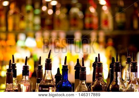 Bottles of spirits and liquor at the bar