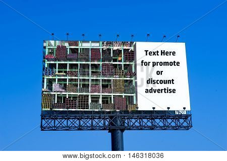 advertise billboard of construction matherial on blue sky background - can use to promote for something