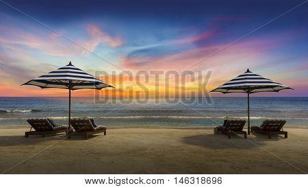 2 Umbrella On The Beach