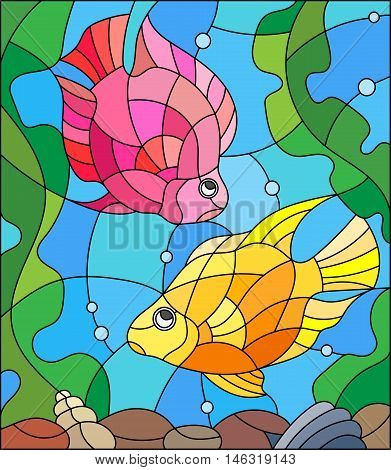 Illustration in stained glass style with a pair of princess parrotfish on the background of water and algae