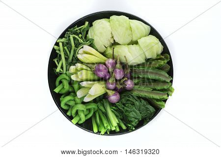 various thai blanched vegetables on white background
