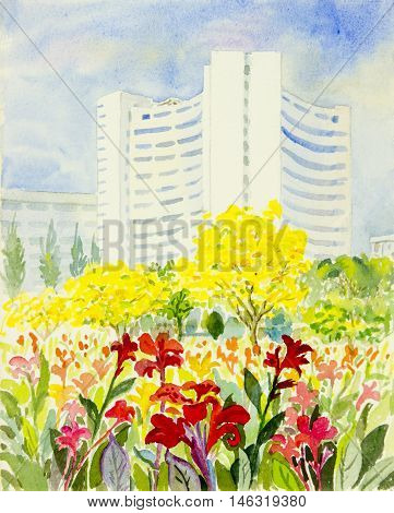 Watercolor original painting Landscape painting Watercolor background Flower painting colorful illustration mountain forest mountain range