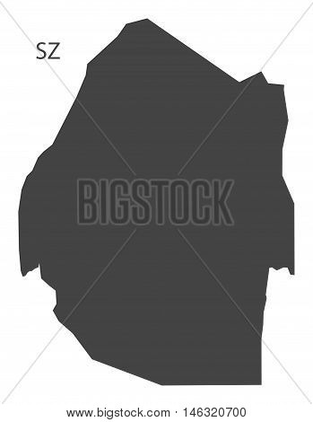Swaziland grey map isolated vector high res