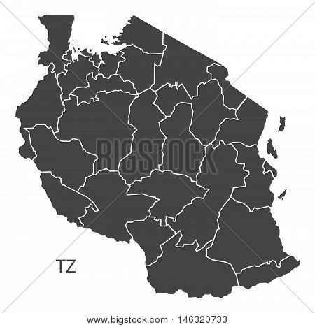 Tanzania grey map with regions isolated vector high res