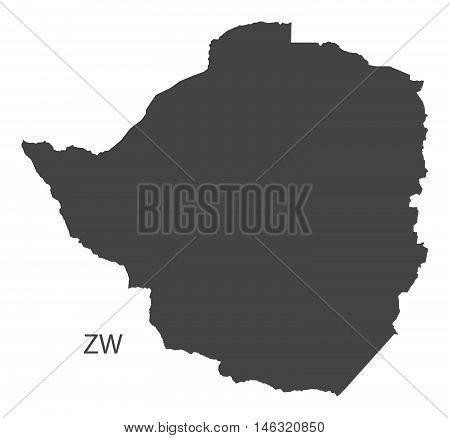Zimbabwe grey map isolated vector high res