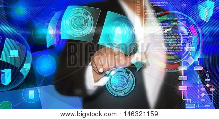 Virtual image of a Business man touching the process of triggering a software development process, which connects the various systems globally through a single touch in a network during coding phase
