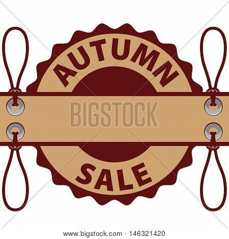 Tag Kraft paper autumn discounts. Brown paint.