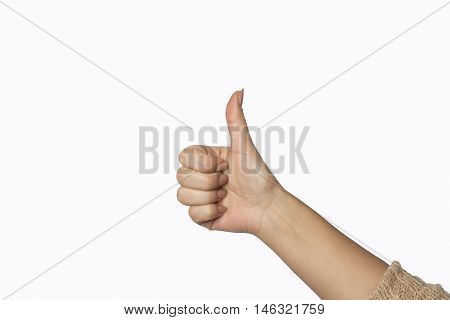 Closeup shot of a woman hand isolated on white background. Close up hand with the palm up receiving or holding something. Girl's hand open.