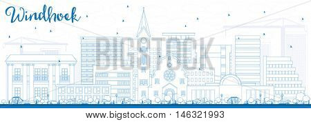 Outline Windhoek Skyline with Blue Buildings. Business Travel and Tourism Concept with Modern Buildings. Image for Presentation Banner Placard and Web Site.