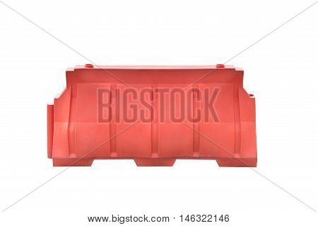 Old red plastic barriers blocking the road