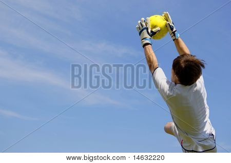 Soccer Football Goalie making diving save
