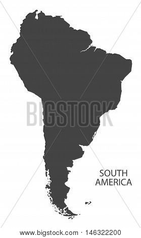 South America complete continent grey map isolated vector