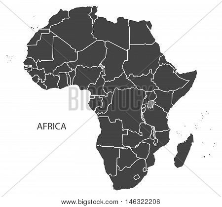 Africa complete continent with country borders grey map isolated vector
