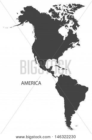 America complete continent grey map isolated vector