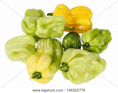 Vegetable of small yellow and green chili pepper habanero isolated on white background