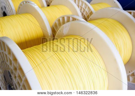 Group Of Fiber Optic Cable Reels