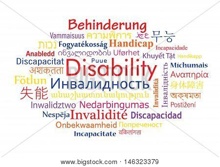 Disability in different language of the world. Vector word cloud for social problem.