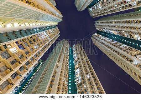 Apartment building to the sky at night