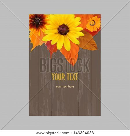 Vertical banner with yellow, orange, red autumn leaves, fall colors on wood surface
