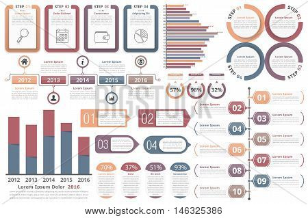 Infographic elements - objects with numbers and text, bar graphs, circle diagram, timeline, objects with percents and text, process diagram, vector eps10 illustration